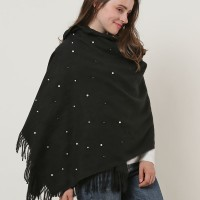 SF1179 Black - Pearls Decoration Scarf With Tassels ends