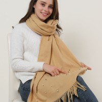 SF1179 Khaki - Pearls Decoration Scarf With Tassels ends