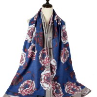 SF1185 Blue - Patchwork Floral Pattern Scarf For Women