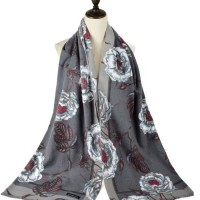 SF1185 Grey - Patchwork Floral Pattern Scarf For Women