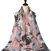 SF1185 Pink - Patchwork Floral Pattern Scarf For Women