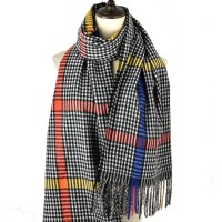 SF1187 Black - Houndstooth Pattern Scarf With Tassel For Women
