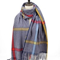 SF1187 Blue - Houndstooth Pattern Scarf With Tassel For Women