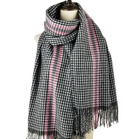 SF1187 Grey - Houndstooth Pattern Scarf With Tassel For Women