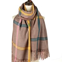 SF1187 Khaki - Houndstooth Pattern Scarf With Tassel For Women