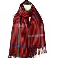 SF1187 Purplish Red - Houndstooth Pattern Scarf With Tassel For Women