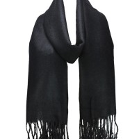 SF503-1 Black - Pashmina Scarves with Tassels