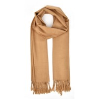 SF503-2 Camel- Winter Women Casual Solid Tassel Scarf