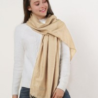 SF503-4 Beige – Textured Pure Color Scarf With Tassels Ends