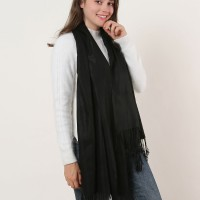 SF503-4 Black – Textured Pure Color Scarf With Tassels Ends