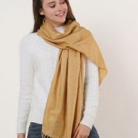 SF503-4 Camel – Textured Pure Color Scarf With Tassels Ends