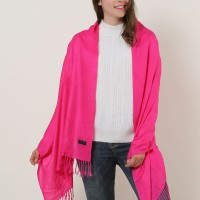 SF503-4 Fushia – Textured Pure Color Scarf With Tassels Ends