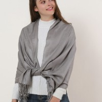 SF503-4 Grey – Textured Pure Color Scarf With Tassels Ends