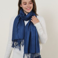SF503-4 Navy – Textured Pure Color Scarf With Tassels Ends