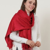 SF503-4 Purplish Red - Textured Pure Color Scarf With Tassels Ends
