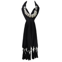 SF596 Black - Solid Color Pearl Elements Jewellery Scarves With Tassels