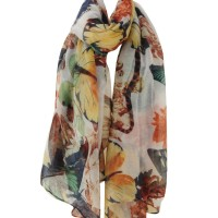 SF611 White - New Spring Style Butterfly Peony Scarves