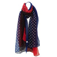 SF621 Blue - 3 Colors Patchwork Dots Printing Women's Scarves