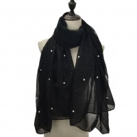 SF678-1 Black - Small Perals Scarf For Women