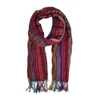 SF836-1 Fushia - Colorful Women Elasticity Tassel Scarf