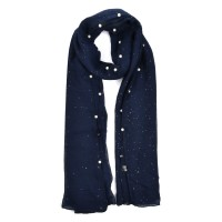 SF841-1 Dark blue - New Fashion Pearl Rule Winter Women Scarf