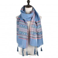SF894 Blue - Fashion Women Geometric patterns Tassel Scarf