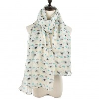 SF922 White - Fashion Sheep Pattern Women Scarf