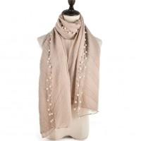 SF943 Beige - Women Pearl Trim Ruched Solid Scarf