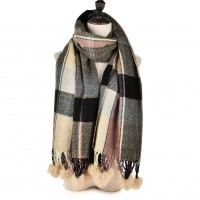 SF957 Pink - Plaid Soft Long Scarf With Pom Pom Detail