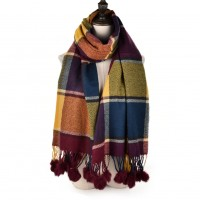SF957 Purple - Plaid Soft Long Scarf With Pom Pom Detail