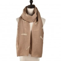 SF958 Apricot - Plain Lightweight Feather Detail Fashion Scarf