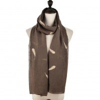 SF958 Light Grey - Plain Lightweight Feather Detail Fashion Scarf