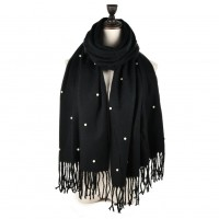 SF960 Black - Fashion Warm Plain Pearl Tassels Scarf