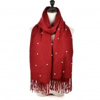 SF960 Red - Fashion Warm Plain Pearl Tassels Scarf