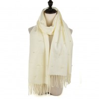 SF960 White - Fashion Warm Plain Pearl Tassels Scarf