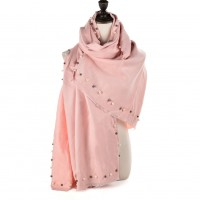SF961 Light Pink - Cashmere Plain Pearls Supersoft Long Scarf