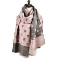 SF966 Pink - Oversized Women Floral Scarf
