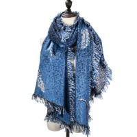 SF976 Blue - Fashion Supersoft Long Woven Scarf