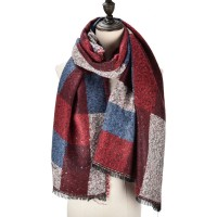 SF981 Fushia - Supersoft Long Woven Scarf In Colour Block