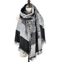 SF982 Black - Long Oversized Stripe Women Scarf