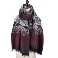 SF983 Navy - Women Fashion Supersoft Long Print Scarf