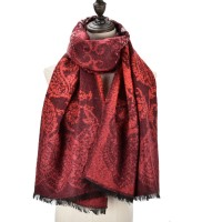 SF983 Red - Women Fashion Supersoft Long Print Scarf