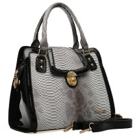SY1405 Grey - Sally Young Snakeskin Embossed Twist Lock Patent Leather Edge Women Handbag Shoulder Bag