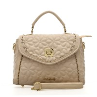SY1419 Beige - Sally Young Fashion Flower Embossed Hollow Out Detail Women Handbag Shoulder Bag