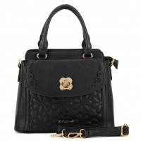 SY1420 Black - Sally Young Flower Embossed Flap with Hardware Decoration Women Handbag Shoulder Bag