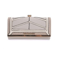 SY1439-2 Beige - Sally Young Snakeskin Metal Frame Splicing Kiss-lock Purse