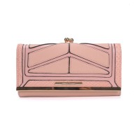 SY1439-2 Pink - Sally Young Snakeskin Metal Frame Splicing Kiss-lock Purse