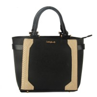 SY1443 Black - Sally Young Snakeskin Trim Handbag