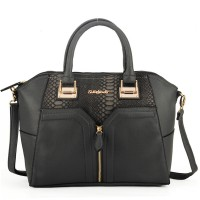 SY1449 Dark Grey - Sally Young City Handheld Bag with Snakeskin Patchwork