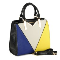 SY1455 Yellow - Sally Young Color Block Patchwork Handbag with Snakeskin Detail